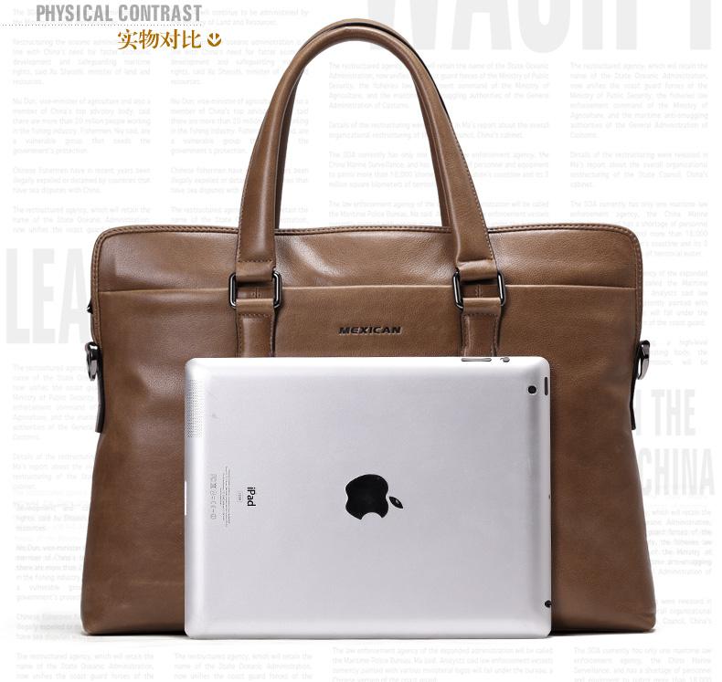 稻草人/mexican男包真皮14寸电脑包商务公文包手提包