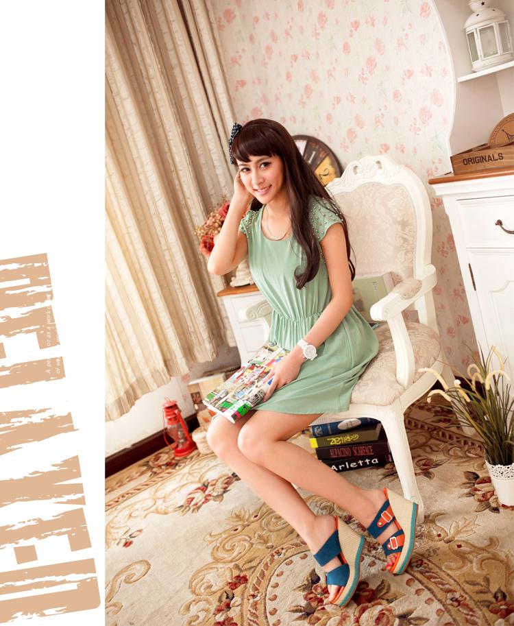 2013夏季新款凉拖鞋高跟坡跟凉拖女波西米亚拖鞋女厚