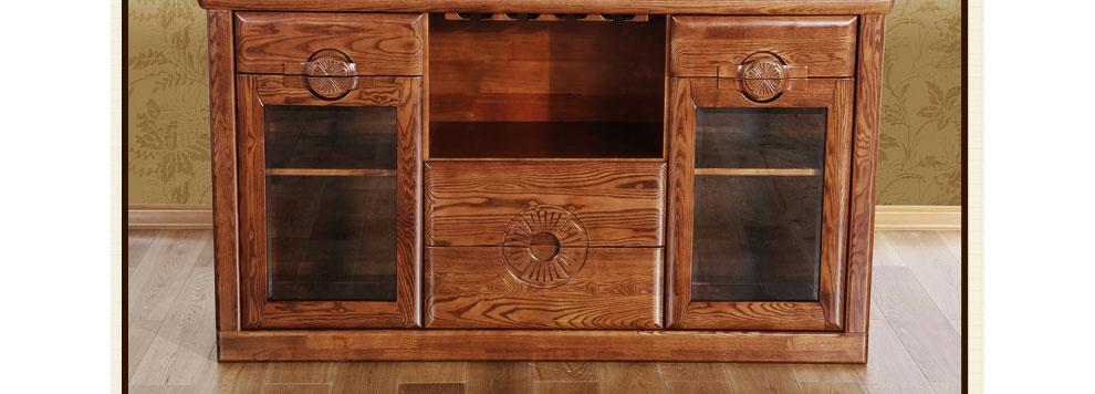 光明家具 现代中式实木酒柜 移动客厅餐边柜 带抽屉储图片
