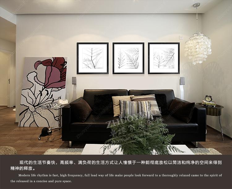 卓缘 美式欧式后现代客厅餐厅卧室 有框装饰画 黑白透明花39*39cm gs图片