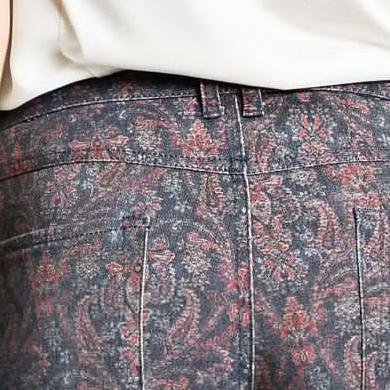 mango2013|修身尺寸佩斯利螺旋花纹长裤|13037594 海军蓝 40