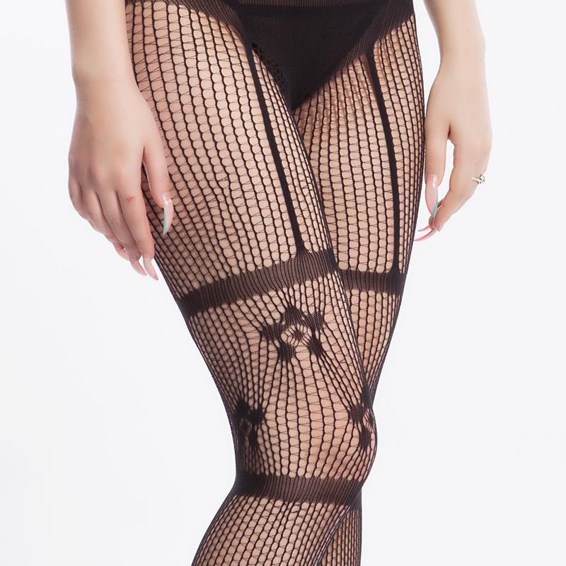 ohyeah噢夜 女士性感连体袜 蕾丝刺绣丝袜渔网