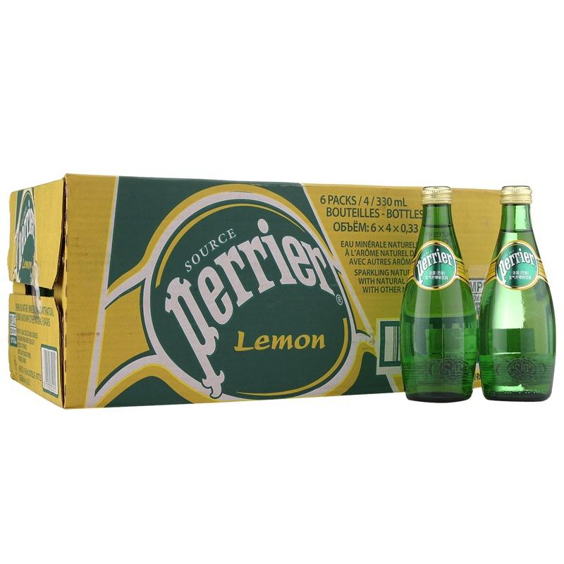 法国进口 巴黎水柠檬味天然含汽矿泉水330ml*24 整箱(Perrier) 矿泉水