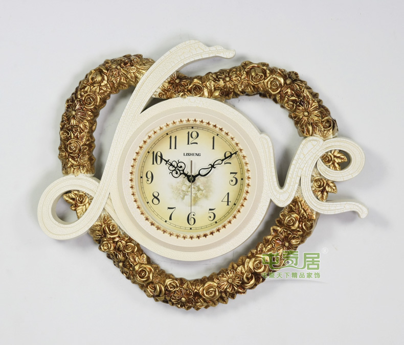 丽盛(lisheng)大号love心形欧式静音客厅挂钟/挂表/卧室钟表/餐厅时钟图片