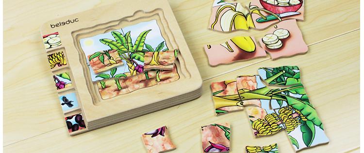 德国贝乐多 木板儿童智力拼图-香蕉 3-5岁幼儿木质3d