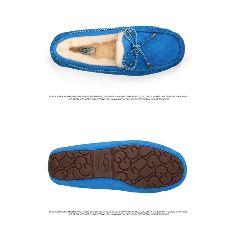 ugg 2014新品 糖果色皮革花边女式羊皮鞋垫豆豆单鞋dakota 1004274