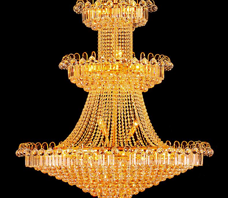 艾斯尼酒店工程金色欧式别墅客厅灯水晶灯大堂吊灯饰图片