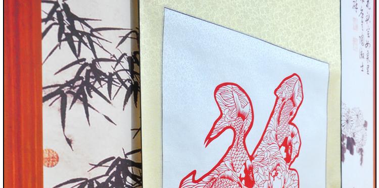 墨香阁 福鱼牡丹 鲤鱼 剪纸 卷轴 镂空雕刻 中国特色