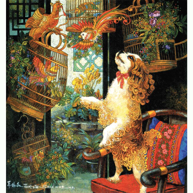 拼图 进口材质高档拼图500片木质拼图 风景油画 装饰画 十二生肖 狗