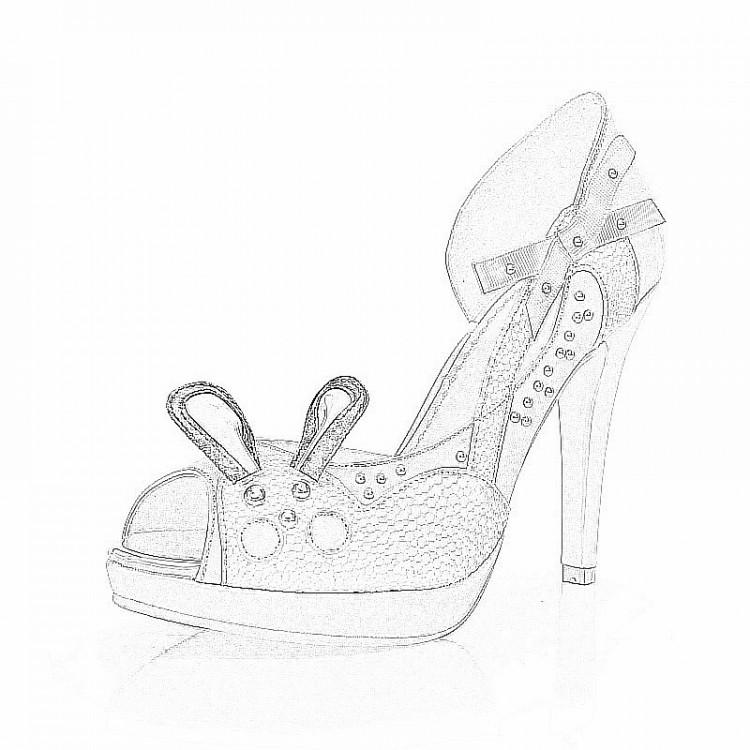 柯莉特2014夏季韩国新款甜美可爱公主蝴蝶结兔子鱼嘴高跟真皮凉鞋女鞋