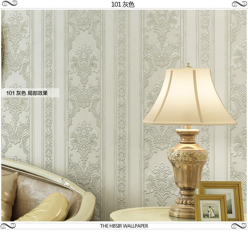 海宝先生无纺布超厚3d欧式现代竖条电视背景墙纸客厅卧室壁纸 101灰色图片