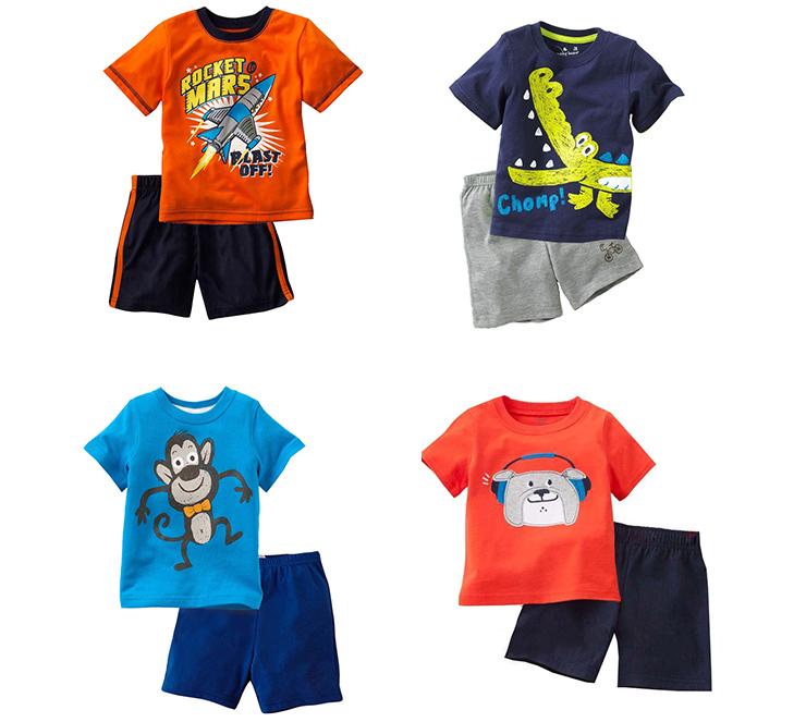 好阿姨夏季男童装儿童宝宝短袖t恤婴幼儿夏装套装2014