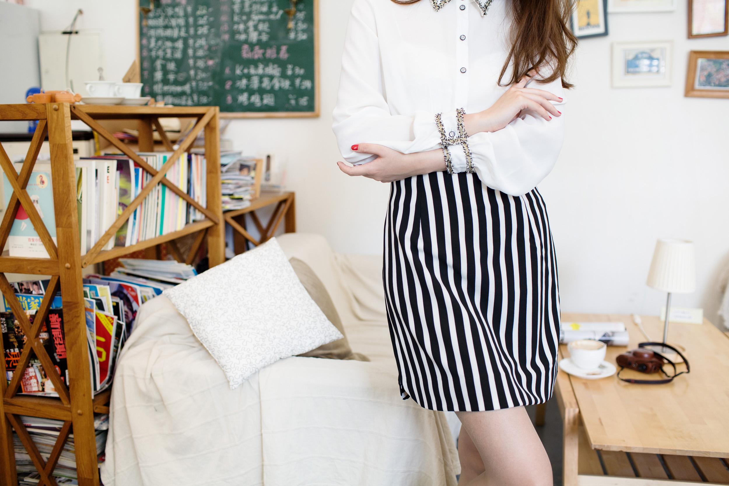 韩版半身裙 竖条纹裙子韩国包臀裙子 百搭裙子 227 黑白条纹 m