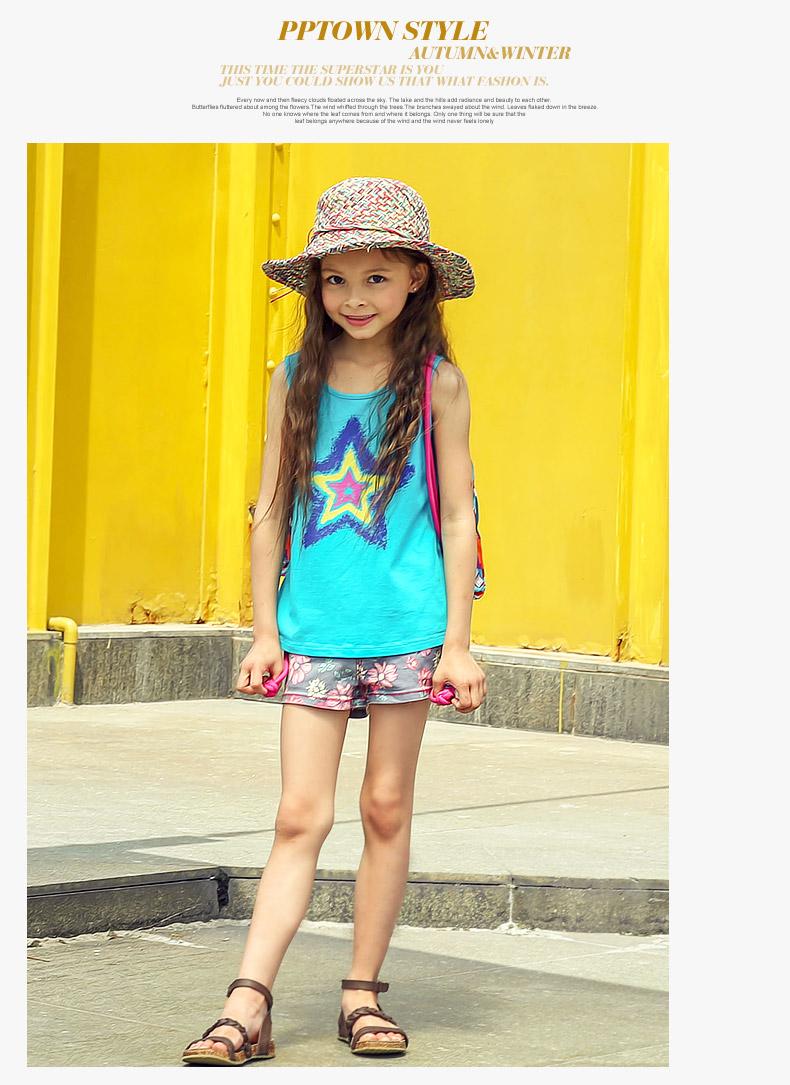 巴巴小镇童装 女童背心圆领 夏款新款儿童马褂汗衫背心纯棉1369 紫色