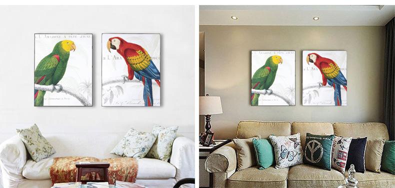 你可居 法式乡村 田园做旧艺术画木板画壁画挂画进口版权画 鹦鹉 11mh
