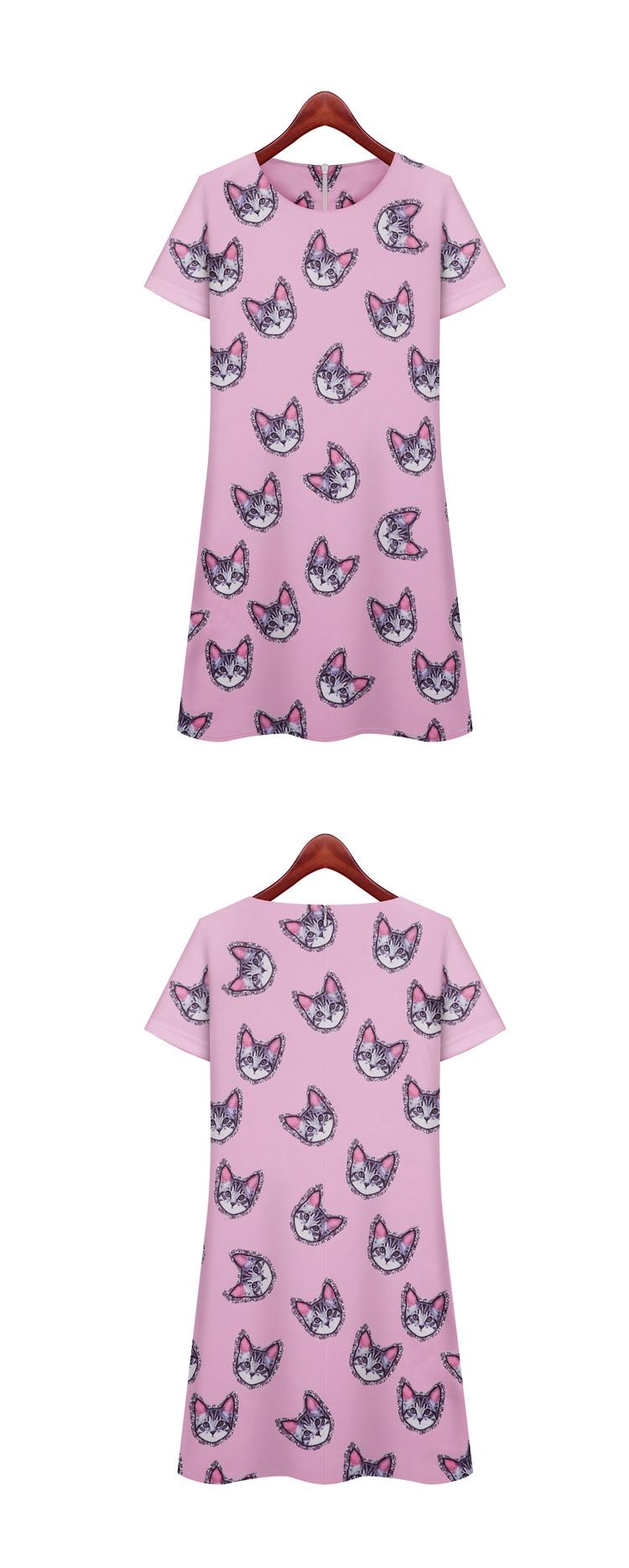 香堤花语 2015夏装新品数码印染动物猫头印花连衣裙 jg9108 图色 s