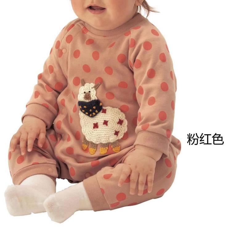 baby卡通钩针绣花连体衣