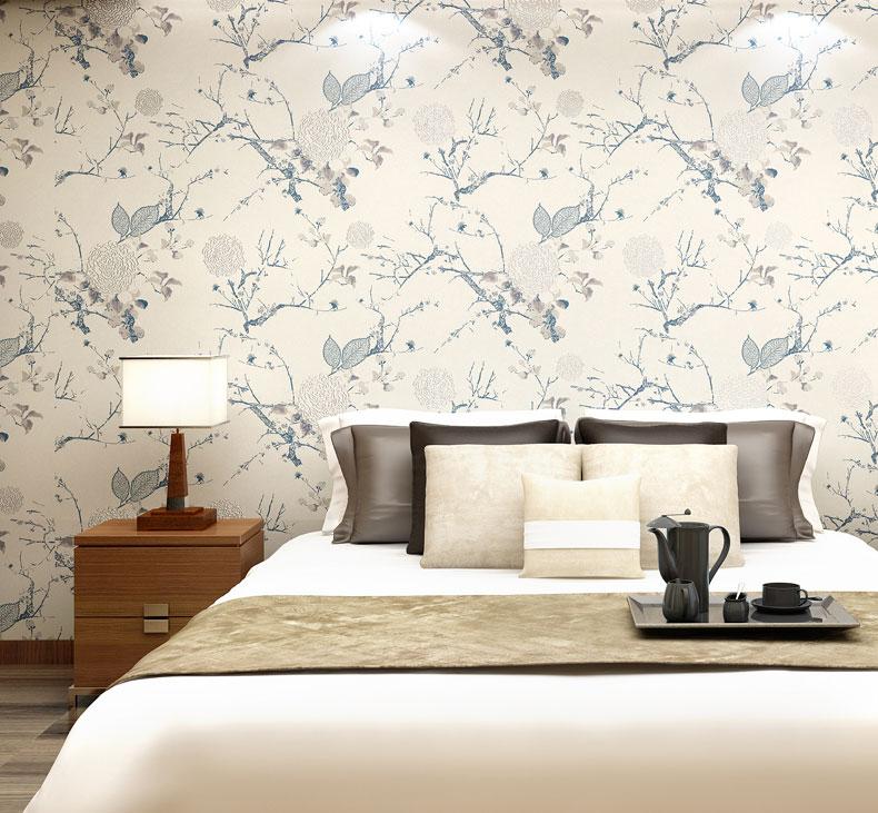 t米素新中式壁纸 无纺布墙纸 卧室书房客厅背景墙壁纸图片