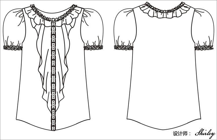 女士裤子手绘设计图