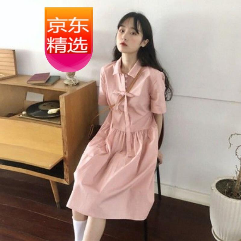 【ドレス女性夏新商品】ドレス女性2021年夏新入生韓国風ドレス甘くてフレッシュなルーズフレンチガールスカートピンクS
