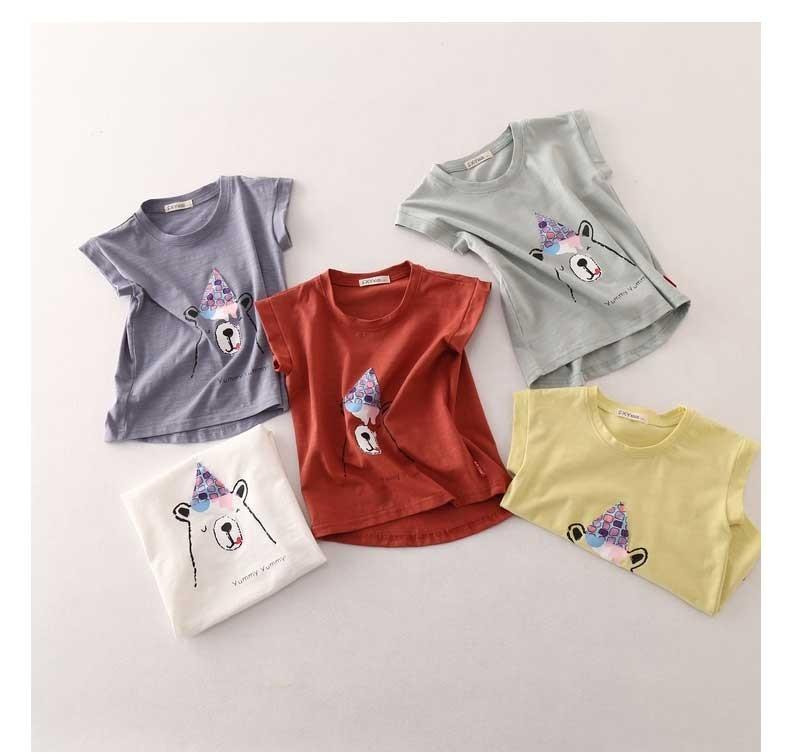 贝壳心雨童装儿童男童短袖T恤圆领卡通印花休闲运动上衣女童薄款夏季短袖外穿打底衫 灰色 120码