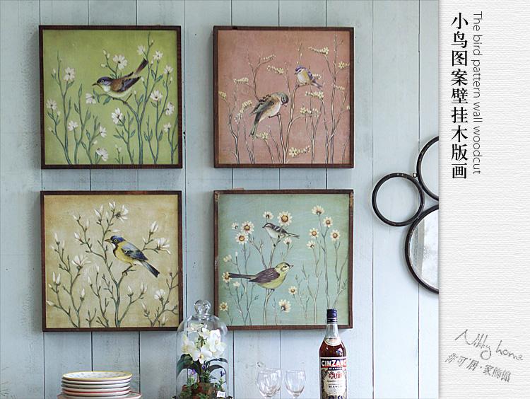 你可居 法式乡村 田园复古做旧实木框装饰画小鸟图案壁挂木板 df493kg图片