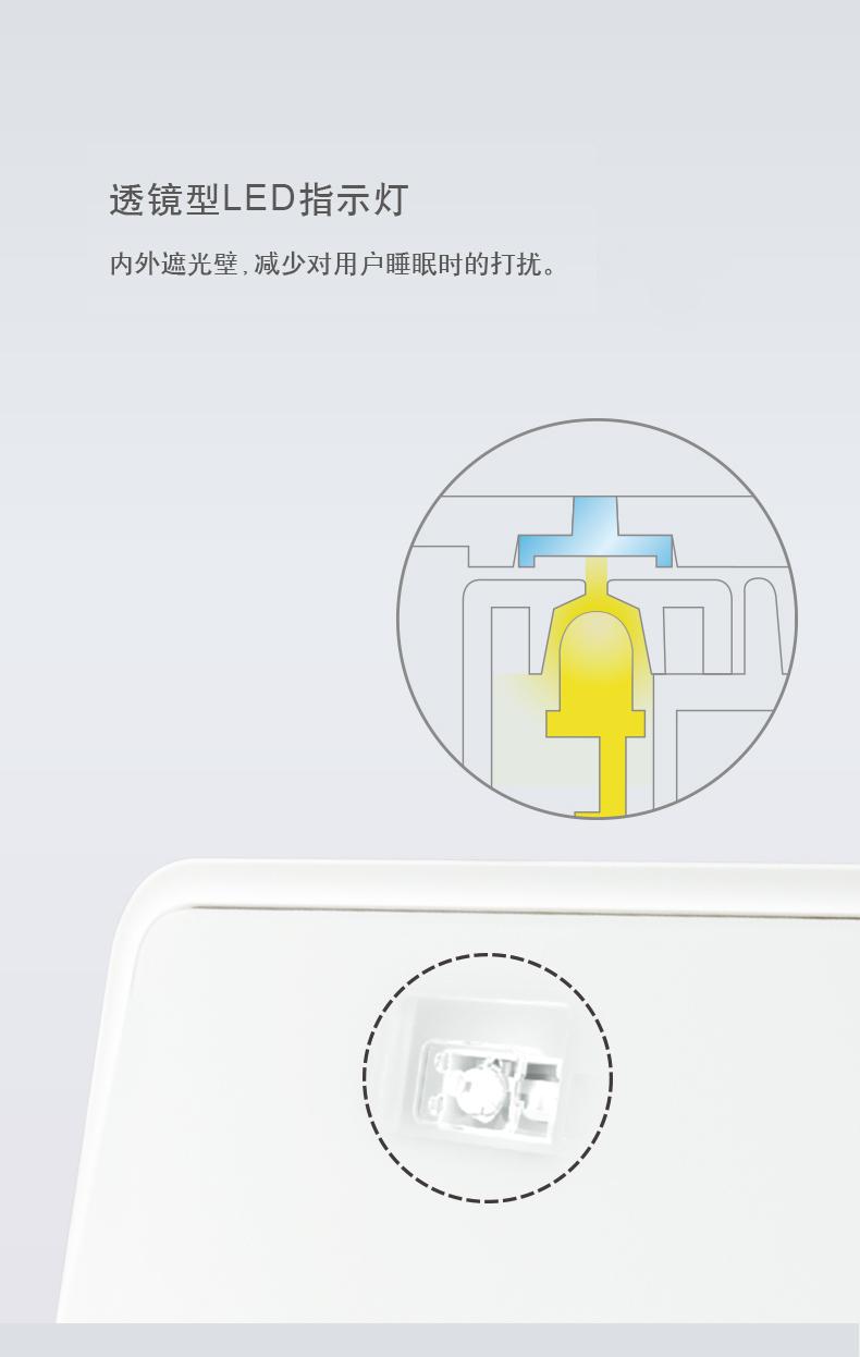 透镜型LED指示灯内外遮光壁,减少对用户睡眠时的打扰。-推好价 | 品质生活 精选好价