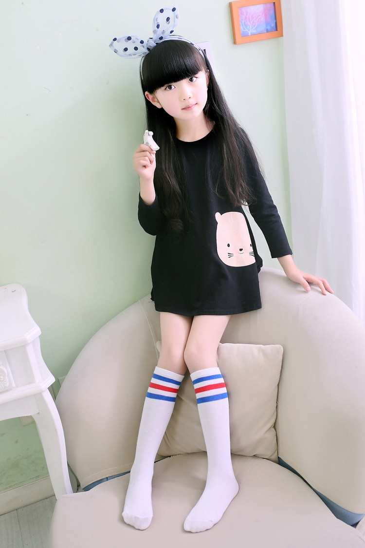 儿童宝宝袜子春秋款男童女童长筒袜韩版纯棉条纹百搭小学生中学生中筒图片