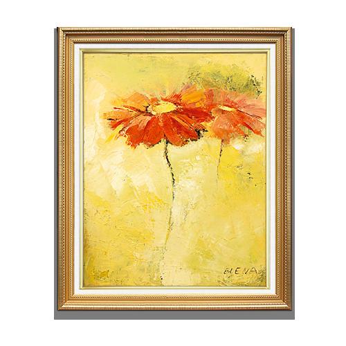 红艺 现代纯手绘油画 抽象花卉有框画 客厅餐厅卧室装饰画有框画玄关