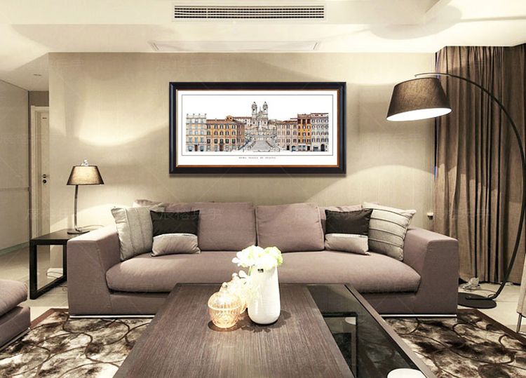 美式装饰画现代客厅沙发背景玄关挂画书房壁画欧式建筑有框画 a款 55*图片