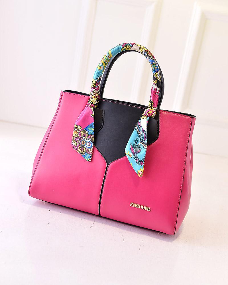 2015新款欧美时尚女式心形丝巾女包手提包包d12-wz 黑色