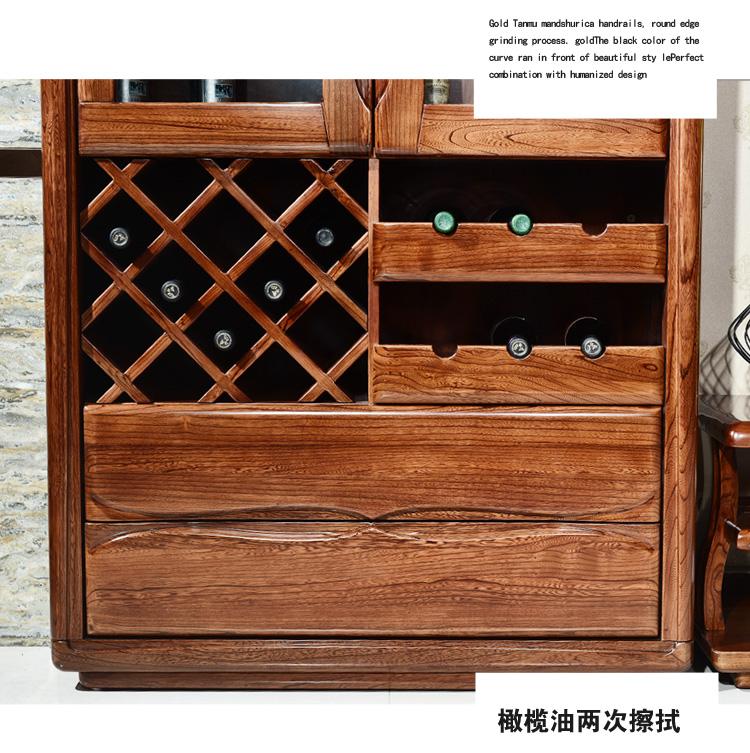 aiboully实木酒柜双门餐厅展示柜赤金檀木隔断现代中式简约功能家用