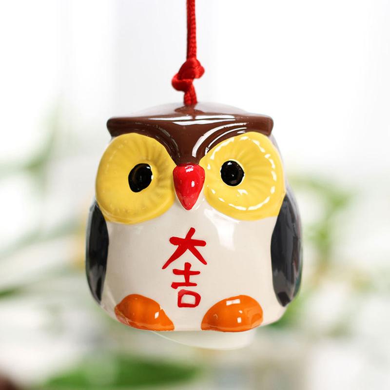 创意摆件日式陶瓷风铃 手绘猫头鹰挂件 3色可爱小企鹅