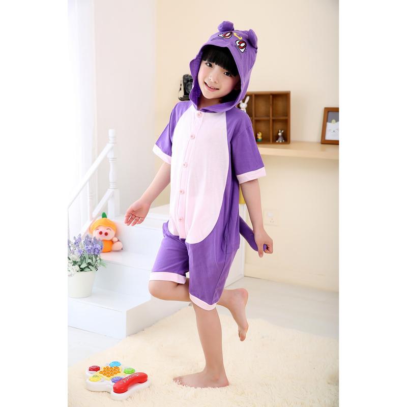 夏季天短袖卡通动物儿童连体睡衣纯棉恐龙猫家居服可爱春秋男女孩