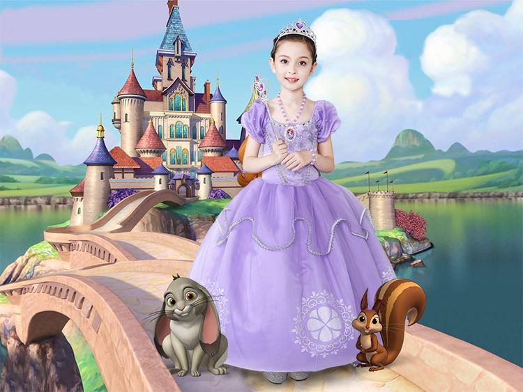 迪士尼女童苏菲亚公主裙小公主索菲亚裙万圣节长发公主裙子长袖 裙子