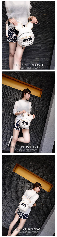 野猫2015夏季新款韩国包包可爱卡通米奇编制星星铆钉双肩包pu学生包