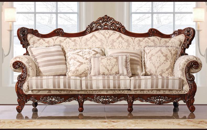 乔克斯美式白色布艺实木双面雕沙发