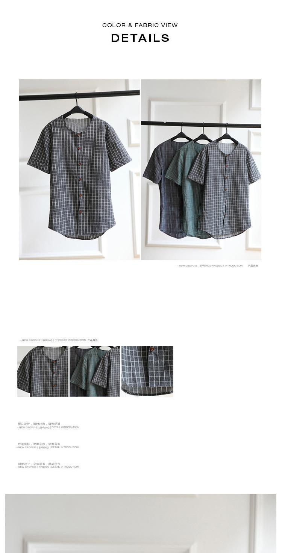2015夏季新款男士衬衫 个性无领设计格子潮男短袖衬衫