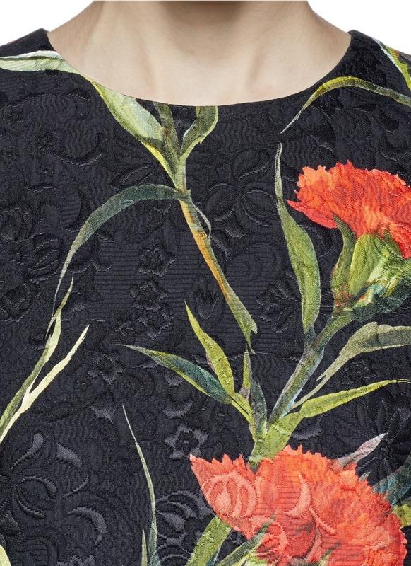 杜嘉·班纳/dolce & gabbana 康乃馨波点图案混丝连衣裙 图片色 40图片