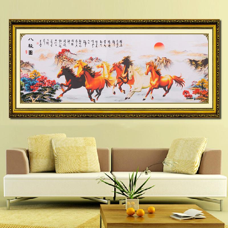 菲绣绣艺 乐陶陶丝带绣 家居装饰 挂画系列 3d彩印 八骏图 cy-00101