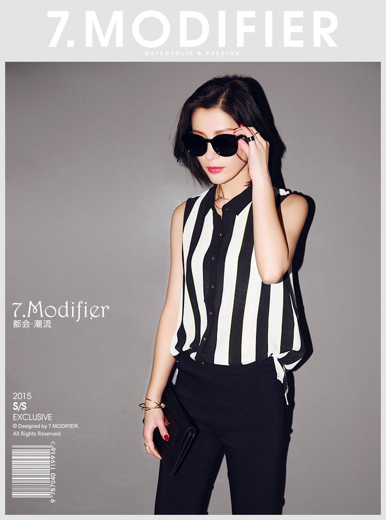 拉夏贝尔 黑白条纹无袖雪纺衬衫 条纹混色 l码-休闲版