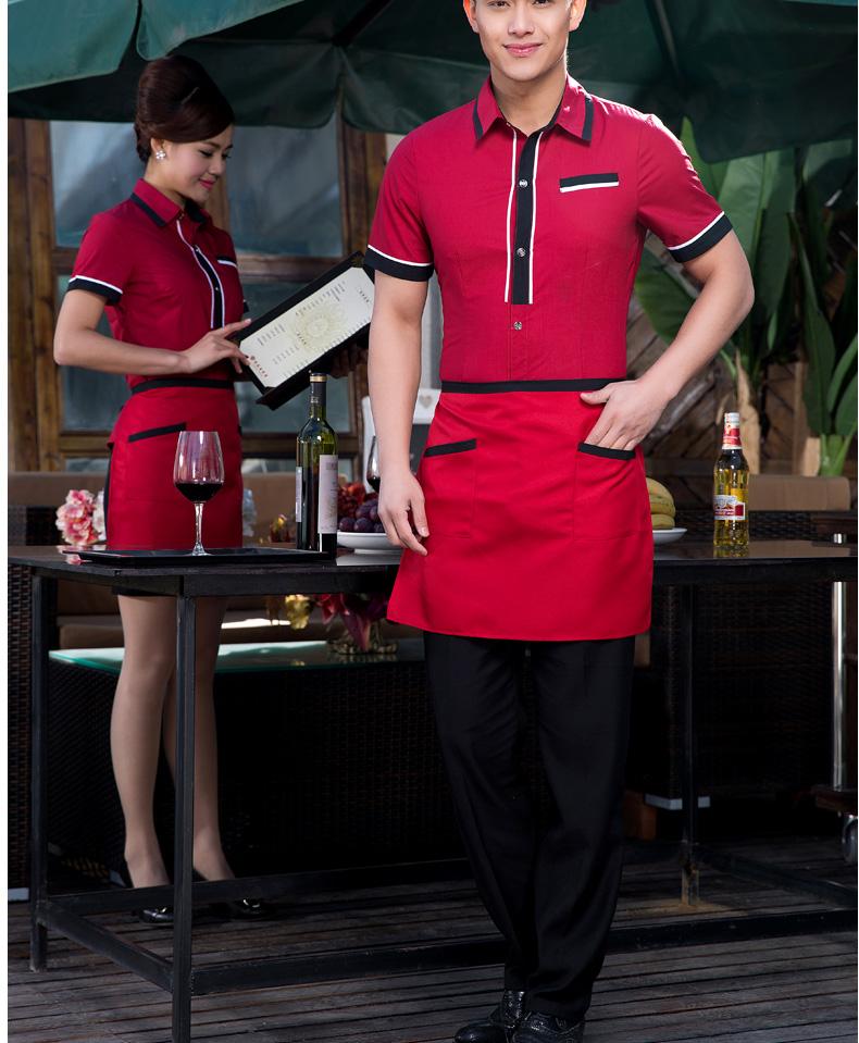 贲茜美 酒店工作服夏装女 西餐厅餐饮服务员制服 饭店传菜生服装短袖