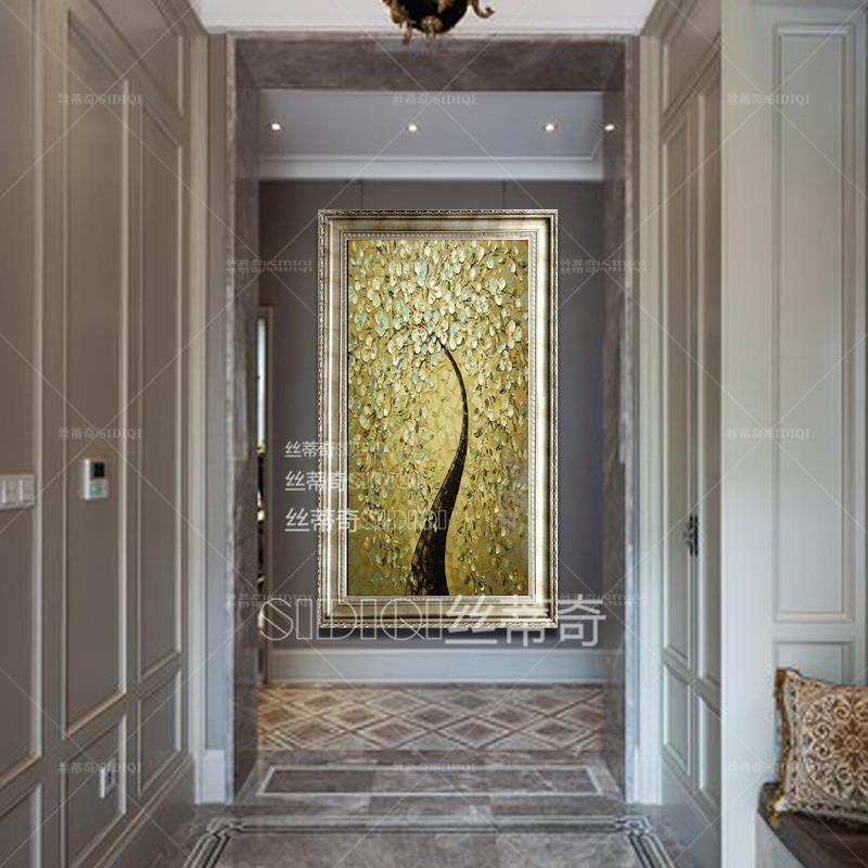 欧式玄关手绘油画现代家居挂画走廊时尚装饰有框画竖版抽象花卉壁画图片