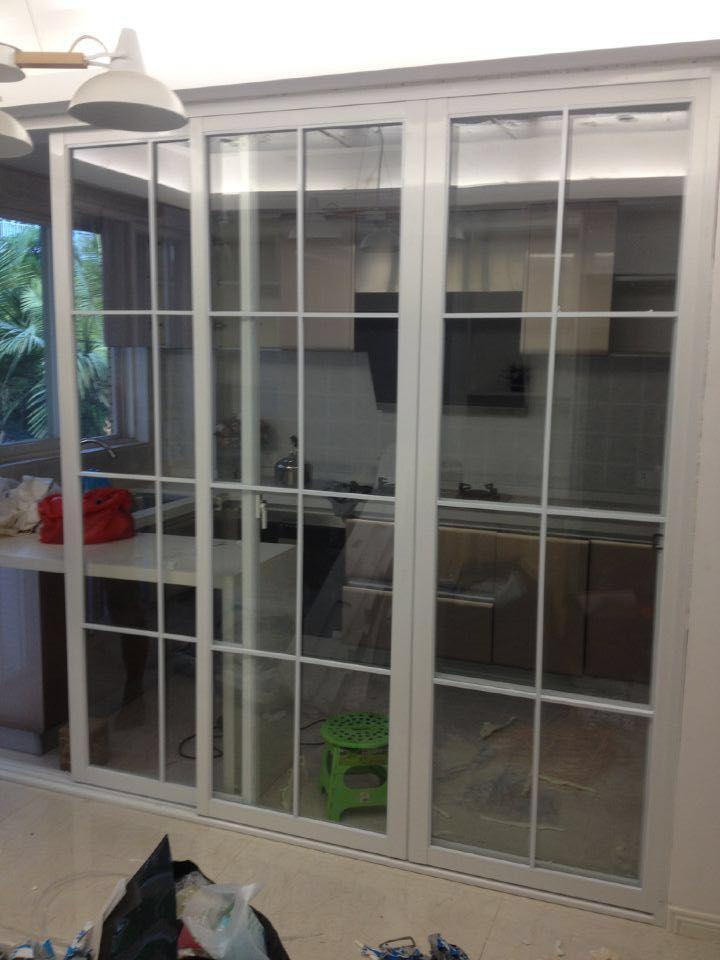 推拉门中式门窗厨房门隔断门重型铝合金推拉门白色阳台移门不占