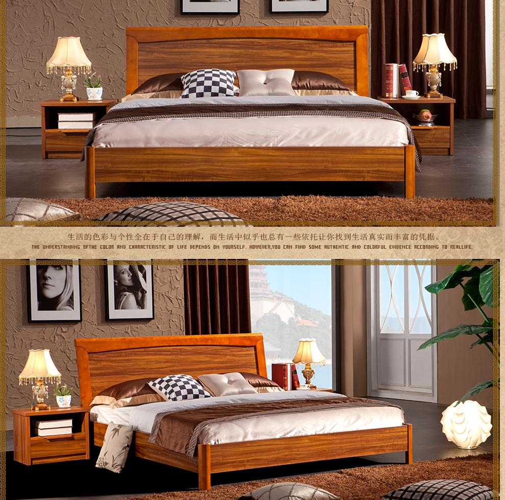 凡哥尔家具 单/双人床 现代简约中式板木床1.8米床 婚图片