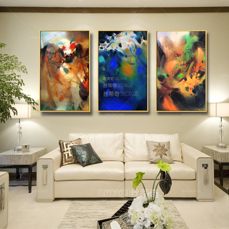 丝蒂奇sidiqi现代时尚油画欧式客厅手绘抽象画家居高档挂画装饰有框画