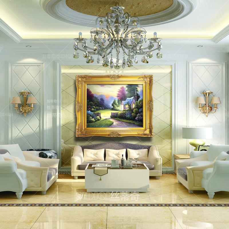 丝蒂奇高档欧式客厅油画家居沙发背景墙有框挂画玄关托马斯风景装饰画图片