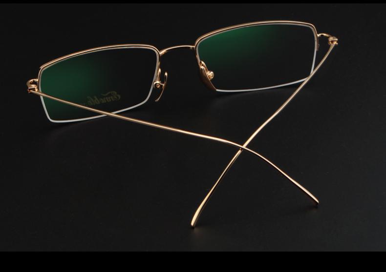 殷博(ennoble) 18k黄金眼镜框 男士商务定制近视镜 光学半框眼镜架 近图片
