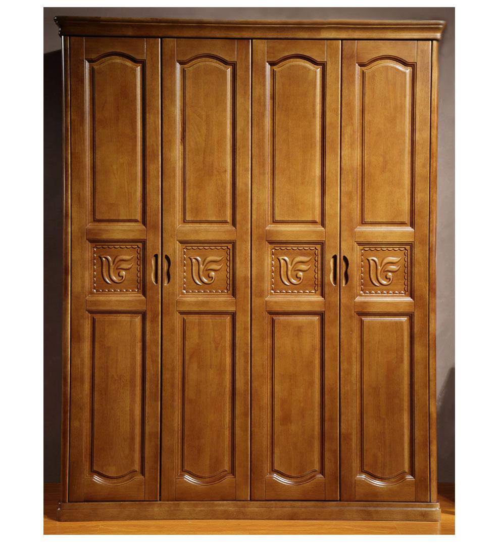 乐满庭 衣柜 木质推拉门衣柜 中式实木门大衣柜 三四五六门衣橱整体