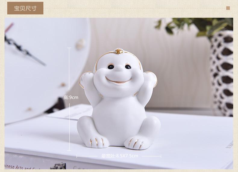 创意可爱小动物猴子摆件家居客厅装饰品博古架摆设